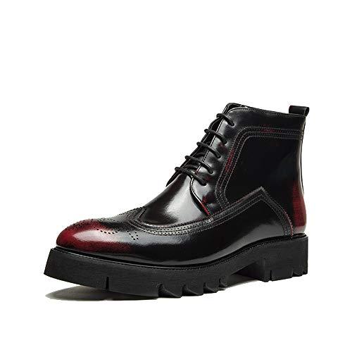 TXOZ Zapatos para hombre, estilo casual, con punta alta, de piel sintética, con cordones (color: rojo, talla: 43 UE)