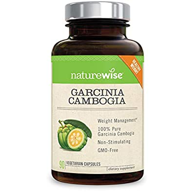 NatureWise Pure Garcinia Cambogia,100% Natural HCA Extract Supports Weight Loss and Curbs Appetite, Superior Absorption