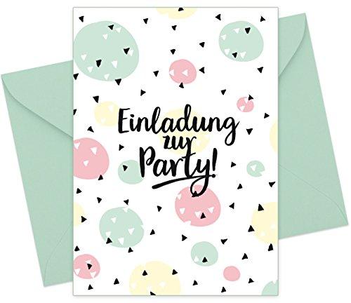 FRUITPRINTS CherryCards - 8er Set Einladungskarten & Umschläge - Konfetti - Einladung Teenager Kindergeburstag - Format A6 (8er Set)