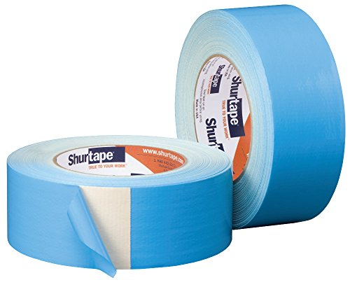 Shurtape DF 545 Double-Sided Carpet and Duct Tape, Sticks to Hardwood, Concrete, Tile and More, Natural with Blue Liner, 48mm x 33 Meters, 1 Roll (152496)