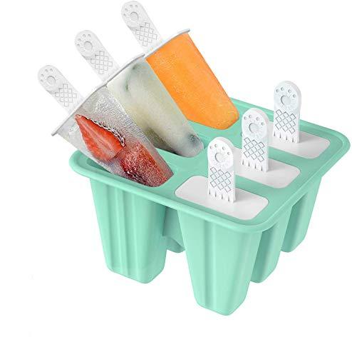 SUFUS Stampi ghiaccioli, Stampi per Gelati Realizzati in plastica di Alta qualità priva di BPA e Approvata dalla FDA, Ideale per la Preparazione di ghiaccioli, Gelati, sorbetti (Verde, 6 Cells)