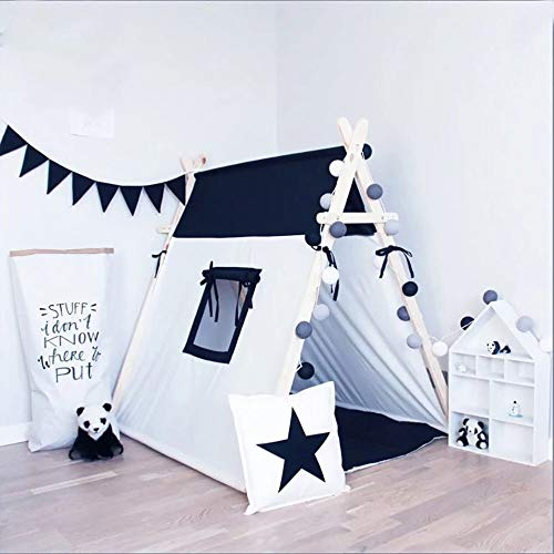 Eyebrow Tweezers Black and white square design 100% Cotton Canvas Indian Teepee Kids Play Tent for Children Playhouse with