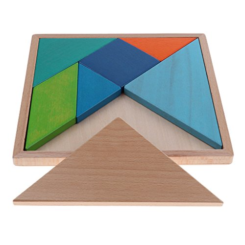 B Blesiya Clásico Rompecabezas de Madera de Tangram Juegos de Inteligencia para Niño Regalos - 20x20 cm