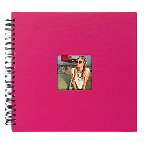 goldbuch 25 197 - Spiralalbum Living Magenta Sapphire, Erinnerungsalbum mit Bildausschnitt, Fotoalbum mit 50 schwarzen Seiten, Foto Album zum Einkleben, Fotobuch mit Einband in Leinenoptik