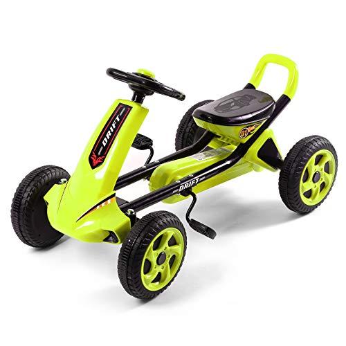 Pedal Go Kart Con Anti-pneumatici Skid,Auto A Pedale A 4 Ruote Su Pedale Giocattolo Per Ragazze,Go Kart Per I Bambini-Verde
