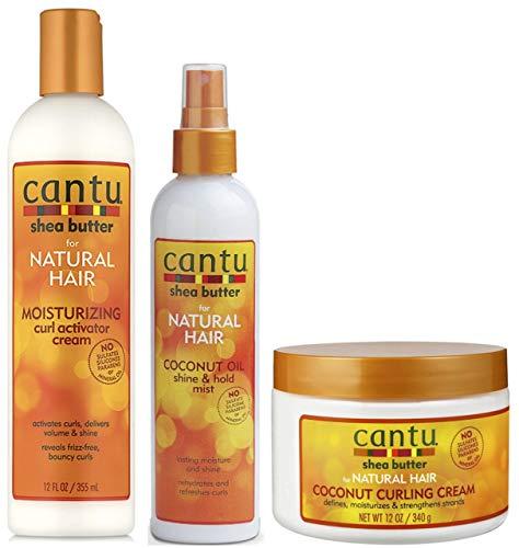 Cantu Moisturizing Curl Activator Cream 355ml, Cocount Oil Shine & Hold Mist 237ml with Coconut Curling Cream 340g TRIO BUNDLE