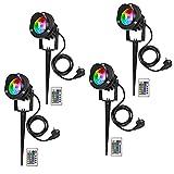 4 Stücke LED Gartenleuchte RGB mit Erdspieß,LED Gartenlampe 10W 1000LM led strahler außen IP65