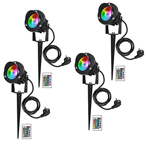 4 Pcs RGB Foco Proyector Exterior Foco COB LED con Estaca Lámpara Luz IP65 220V 10W Impermeable LED Bombilla Exteriores para Jardín Aire Libre Césped Patio Decoración