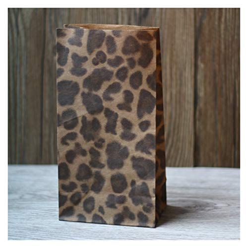 Heinside Hohe Qualität Kraftpapier-Tasche, Frohe Weihnachten Kraftpapier-Tasche, Geschenk-Papiertüte, Snack-Keks-Packaging-Papiertüte 23x12x7.5cm 30pcs / Lot Einfach (Color : Leopards)