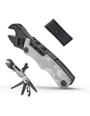 Multitool Adjustable Wrench 12 in 1 Multi Tools,Camping Multitool Accessories with Saw Screwdrivers Bottle Opener Sheath Gifts for Men Dad