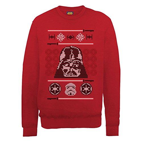 Star Wars Christmas Dart Vader Head Knit Felpa, Rosso(Red), L Uomo