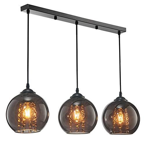 Vikaey moderne Glas Pendelleuchte, Runde Form Kristall Kronleuchter Esszimmerlampe, 3-Licht Hängelampen für Wohnzimmer Schlafzimmer Küche Bar
