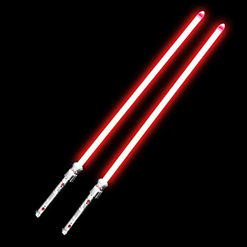 YDDSABER Darth Maul Lightsaber Double Blade Lightsaber with RGB 16 Colors and Sound (Motion Sensitive) for Galaxy War Fighters, Metal Hilt