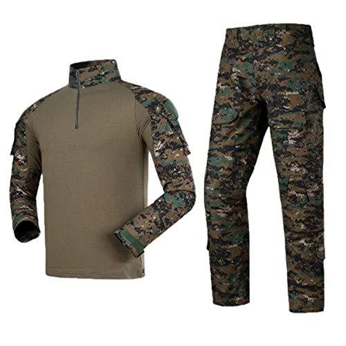 Men Combat T Shirt and Pant Set 1/4 Zip Camo Military Tactial Uniform with Long Sleeve BDU Airsoft Hunting Shirt (L, Jungle Digital)