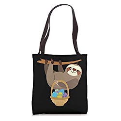 Easter Sloth with Basket of Easter Eggs Tote Bag