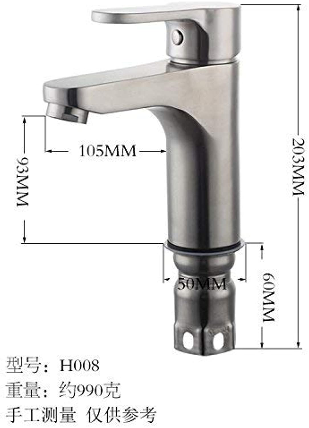 Oudan Basin Mixer Tap Bathroom Sink Faucet Table tub faucet 304 brushed stainless steel basin faucet hot and cold tower bathroom vanity faucet,H010 (color   H008)