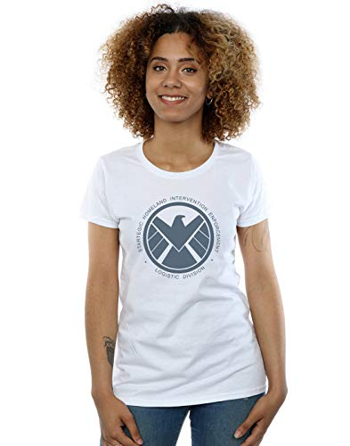 Marvel Mujer Agents of S.H.I.E.L.D. Logistics Division Camiseta Blanco Medium