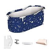 HT Bañera portátil plegable, bañera para adultos y niños, bañera separada para la familia SPA, color azul