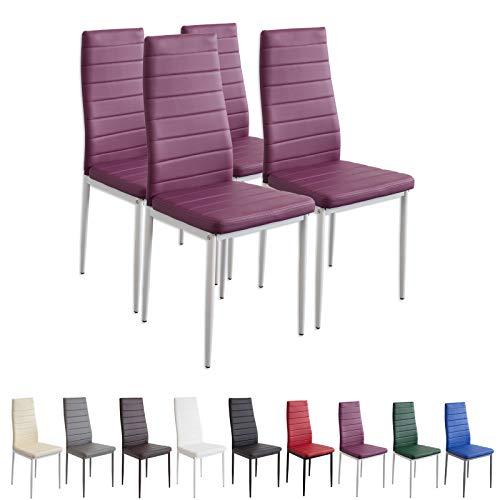 Albatros 2703MILANO Set de 4 sillas de Comedor, púrpura