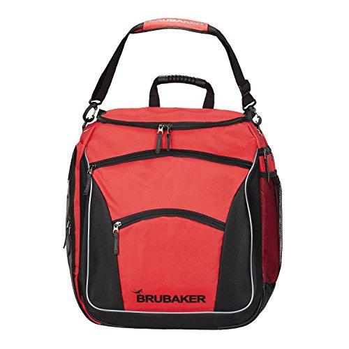 Brubaker Skischoentas PROFESSIONAL voor schoenen en helm met rugzakdraagriemen en schuim-rugkussen rood/zwart
