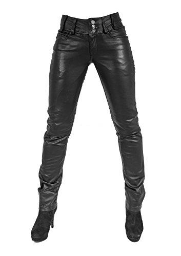 Unbekannt Ginny Damen Lederhose aus echtem Lamm Nappa Leder (Schwarz, XL)