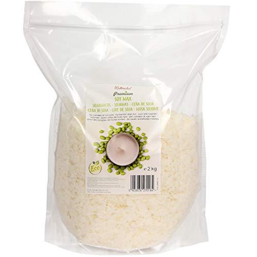 Cera de soja premium de Materialix - distintos tamaños - cera de soja natural ecológica para fabricar velas (2kg)
