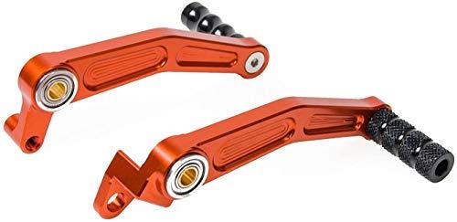 H2RACING Motorrad Orange Aluminium CNC Bremse Pedalhebel Schaltpedal Hebel Schalthebel für 125 Duke 2011-2015,200 Duke 2012-2016,390 Duke 2013-2016,RC125/RC200/RC390 2014-2016