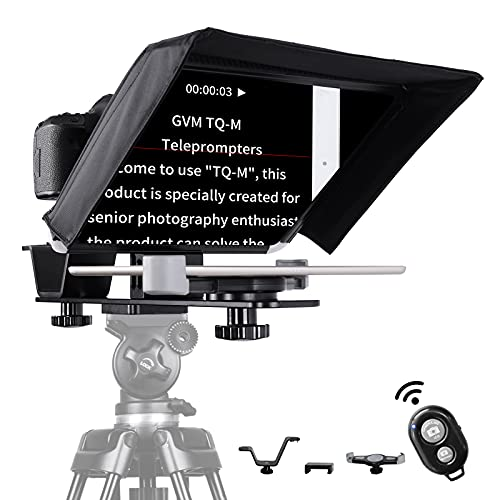 """GVM Teleprompters for ipad Smartphone Tablet DSLR Camera Portable 10.5"""" Teleprompter Kit with Remote Control & App,Solid Aluminum Constructions,Colorless Spectroscope,Ultra HD Wide-Angle Lens"""