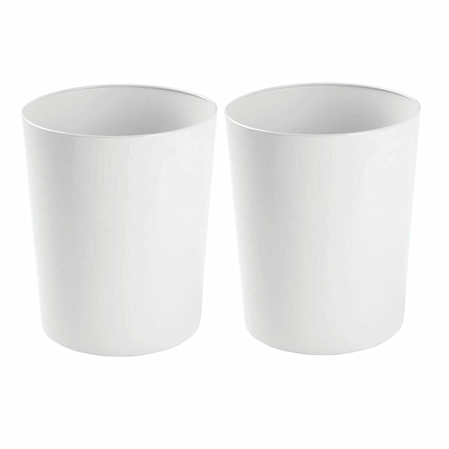 Round Metal Trash cans Wastebasket Garbage Bin White OFFicial store - Max 64% OFF 2 Pack