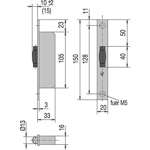 WSS Rollfallenschloss für Pendeltür | Schwing-Tür | 33 mm Tiefe | Stulpe 150 mm flach Edelstahl | 1 Stück