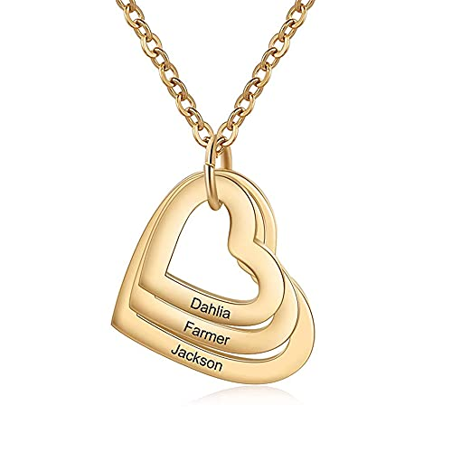 Elfata Collar Corazón Personalizados para Mujer Colgante Corazón con 1-4 Nombre de Madre Abuela Collares con Nombres de Familiar bff (Gold,3 Names)