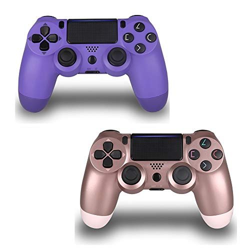 2 Pack Wireless Controller for PS4 Remote for Sony Playstation 4 Remote Control ( Electric Purple and Rose Gold, New Model )