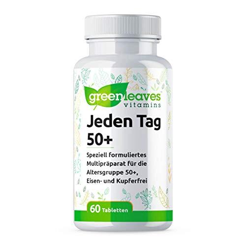 Greenleaves Vitamins - Jeden Tag 50+ Speziell Multipräparat 60 Tabletten Eisen- und Kupferfrei