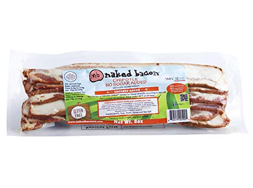 Chipotle Sugar Free Naked Bacon - Whole30 Approved Multipack (5 packages) - No Sugar, Nitrate Fre...
