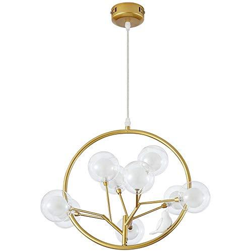 Kaper Go Lámpara de techo de hierro forjado galvanizado con forma de jaula de pájaros de cristal dorado con forma de burbuja para dormitorio, mesita de noche, restaurante, porche