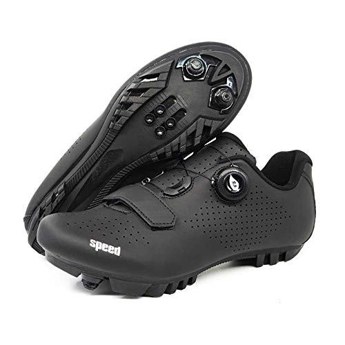 Hochwertige Rennrad- / Mountainbike-Schuhe Für Männer Und Frauen Fahrradschuhe Mit Schloss Und Klettverschluss Größe 36-47 (42,schwarz1)