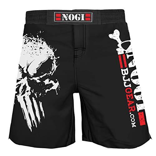 No Gi BJJ Compression Rash Guard & Spats for Jiu Jitsu, MMA, Grappling and Wrestling. Long Sleeve and Short Sleeve (No Gi Punisher Shorts, 34-Large)