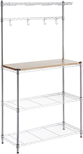 AmazonBasics Kitchen Storage Baker's Rack with Wood Table,...