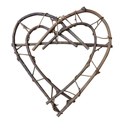 VOSAREA 26cm hängende Herz Kranz Wicker Rattan Herz Dekoration Möbel Schießen Requisiten