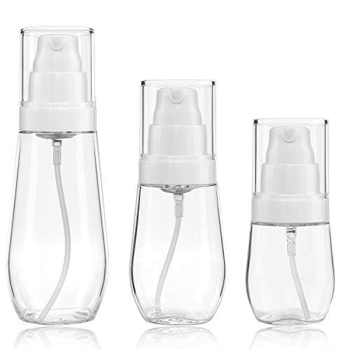 Bote Spray Botella de Aerosol Vacío Plástico Transparente Niebla Fina Atomizador de Viaje Recargable Conjunto de Botellas Maquillaje Vacio de Agua Claro Contenedor (30ml 60ml 100ml)