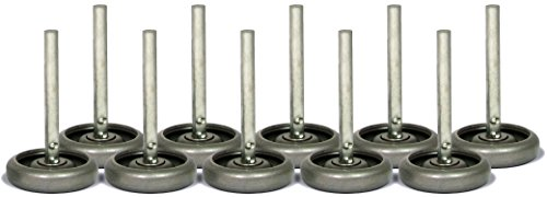 "Ideal Security Inc. SK7125 Steel Garage Door Rollers 3 inch Wheels with 10 Ball-Bearings, 4"" stem, Pack, Durable"