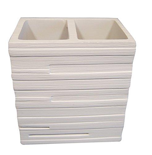 RIDDER 22150201 - Portaspazzolino ad Effetto Mattoni, Colore: Bianco