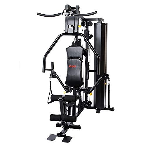 Fuel Fitness Kraftstation KS300 für Zuhause, Multistation für Ganzkörper-Krafttraining, Homegym mit Seilzug, Latzug, Brustpresse, unzählige Trainingsvariationen, 68kg Gewichtsblock, inkl. Zubehör