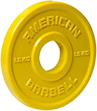 American Barbell Urethane Fractional Olympic Weight Plates - 1.5 KG Pair - Yellow - Fraction Plates for Micro-Loading