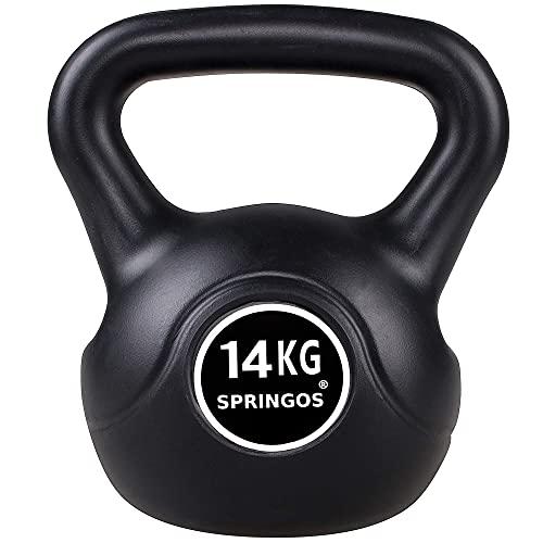 Springos - Pesa rusa de 4 kg, para levantamiento de pesas, equipo deportivo para fitness, desarrollo muscular y entrenamiento de fuerza, Negro 14kg