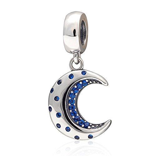 Colgante de plata de ley 925 con cristales de luna creciente azul medianoche para pulseras o collares similares