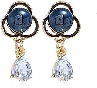 Earrings Crystal Simple Elegant Pearl Flower Stud Earring for Women(White) Earrings (Color : Grey)