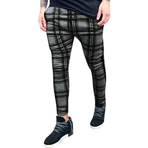 Sumeiwilly Lange Freizeithosen für Männer Mode Slim Fit Karierte Hose Design Retro Jogging Hose Bequeme Hose für Zuhause Chinohose Stretch Cargo Hose, M-3XL