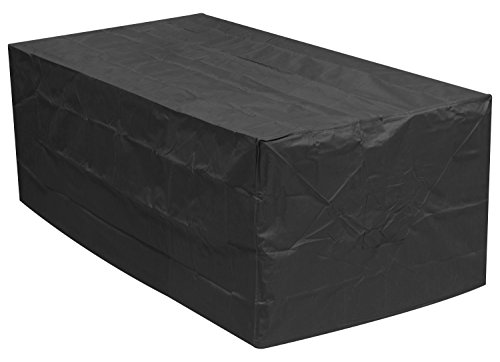 Woodside Black 4-6 Seater Rectangular Waterproof Outdoor Garden Patio Furniture Set Cover Heavy Duty 600D Material 0.8m x 2.1m x 1.1m / 2.6ft x 6.8ft x 3.6ft 5 YEAR GUARANTEE
