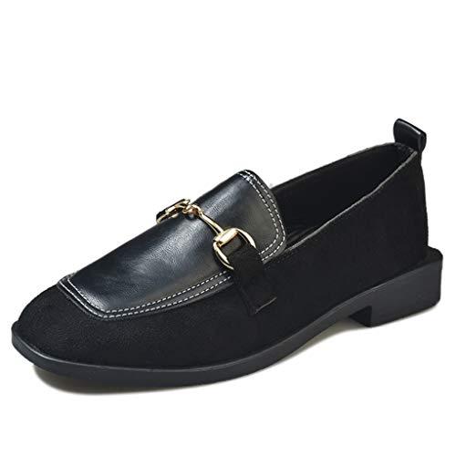 Frauen-Flache Müßiggänger-Art- und Weisemetallschnalle-Normallack-Nähen-Quadrat-Zehen-beiläufige lederne Schuhe Flacher Beleg auf Damen-einzelnen Schuhen